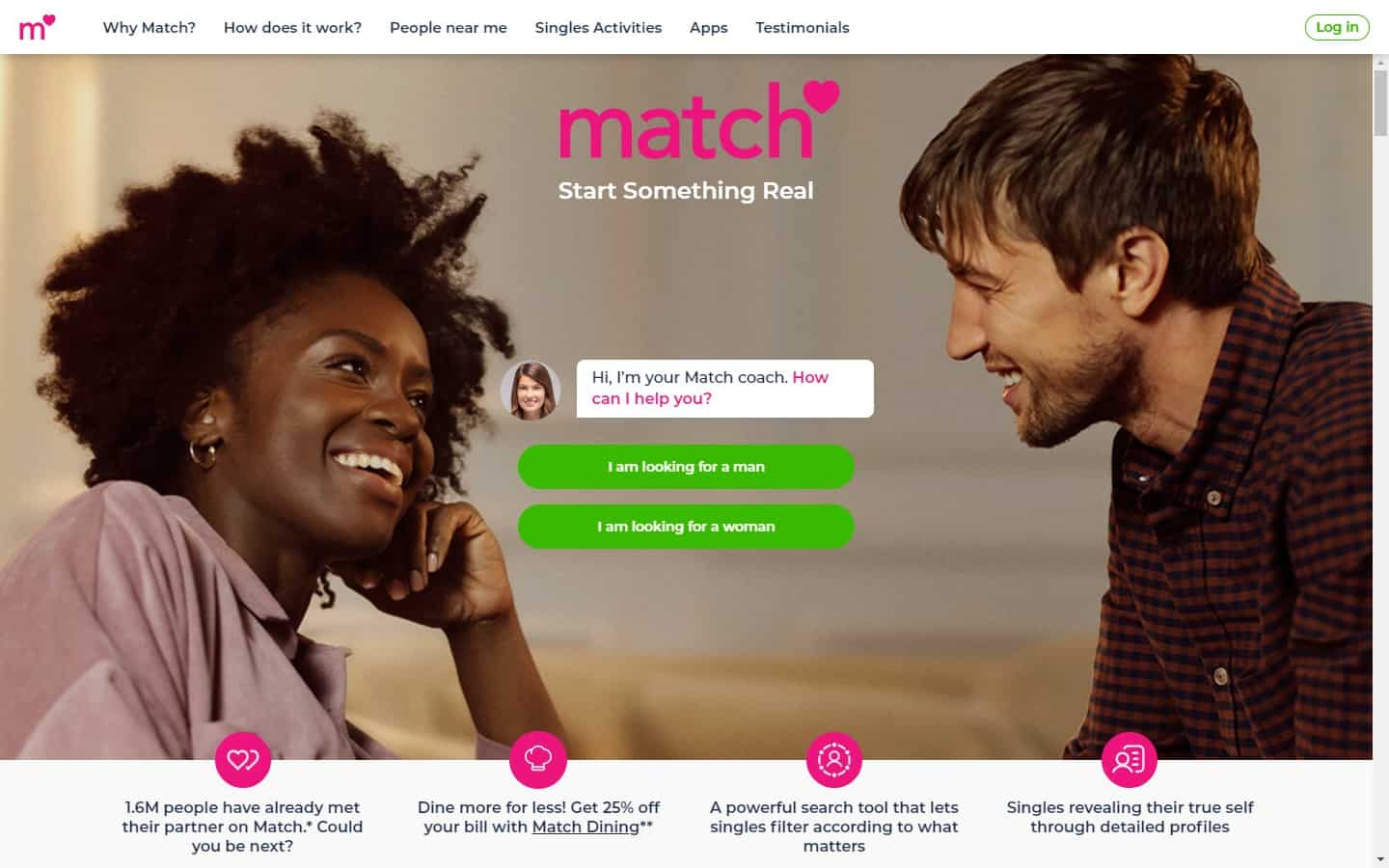 Test winner: Match - Dating site